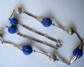Art Deco Necklace  Blue Glass and Chrome Beads 1920's 1930's