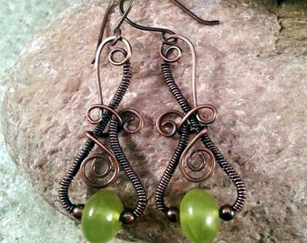 Wire Wrapped Long Dangle Earrings With Lemon Jade and Copper Beads.Spirals