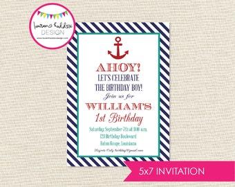 Nautical Birthday, Nautical Birthday Invitation, Nautical Printables, Nautical Birthday Decorations, Lauren Haddox Designs