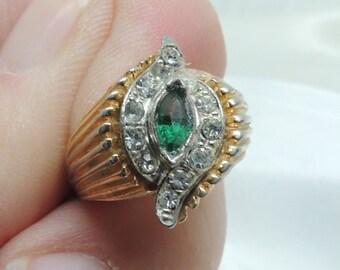 Vintage Diamond and Emerald Fashion Ring