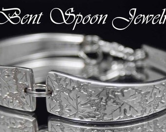 Spoon Bracelet, Leaves Vintage 1968, Eco Friendly Spoon Bracelet, Silverware Jewelry