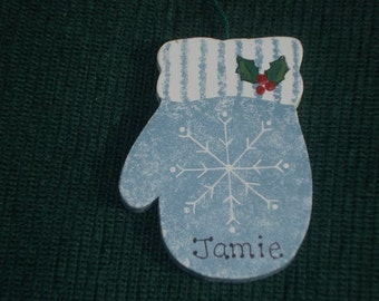 Personalized Wood Christmas Ornament - Mitten