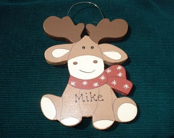 Personalized Wood Christmas Ornament - Moose