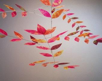 Leaf Mobile Citrine Sunset Glow Hand Dyed Dappled Art Mobile