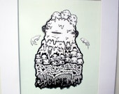 8 x 11 Art Print - Cute Black and White Slime Monster on Mint Green Background