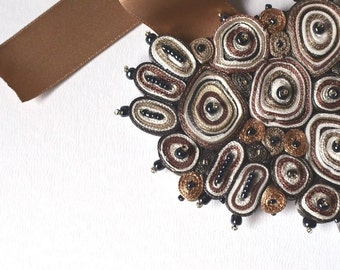 Textile necklace brown, bib necklace, statement necklace, contemporary jewellery, Cloud Collection - Textile jewelry OOAK  for order