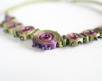 Textile necklace green, statement necklace, fiber jewelry - Textile jewelry  OOAK ready to ship