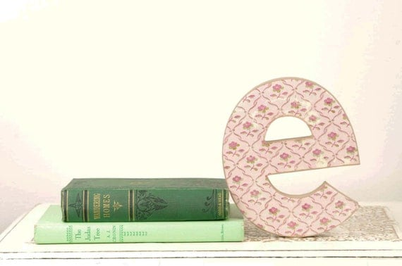 Letter E Monogram with Pink Floral Details - Cake Topper - Monogram - Bookshelf Decor - Table Decor - Photography Prop - Birthday Party