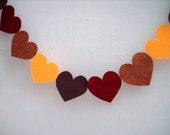 Fall in Love garland - Valentine decoration - 7 feet walnut brown, ruby, copper, gold felt hearts - Ready to ship