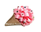 Pink Ice Cream Cone Loopy Puff Bow