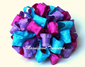 Pink, Lavender, and Turquoise Ruffled Loopy Puff Bow in Regular or Itty Bitty Size
