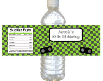 Printable Personalized Boy Video Game Water Bottle Labels Wrappers - Green Checkered Birthday Decorations Party Favors Custom Party Items