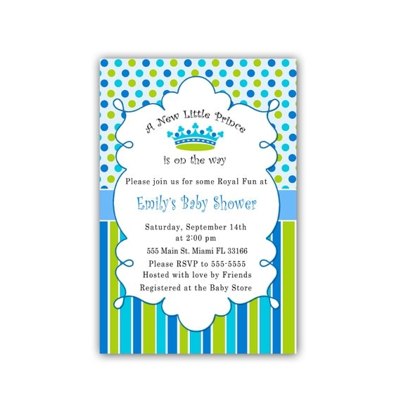 little prince baby shower invitations blue green stripes polka dots