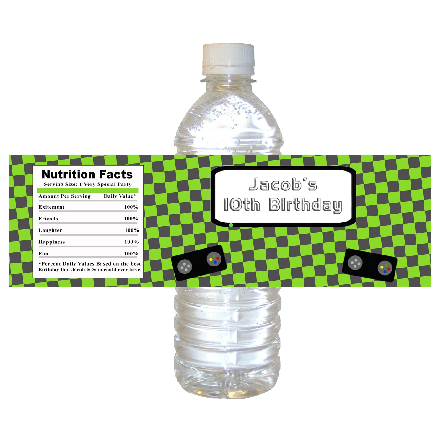 Printable Personalized Boy Video Game Water Bottle Labels