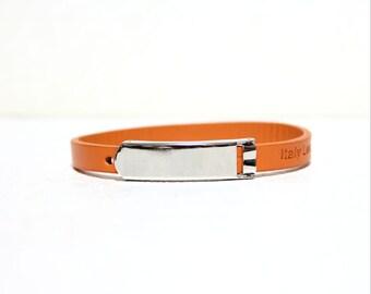 Single Wrap Minimal Leather Bracelet(Orange)
