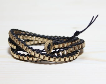 Leather wrap bracelet with18k gold plated chain bracelet-Medium Width(BLACK)