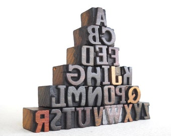 25% OFF - A to Z -26 Vintage Letterpress Wooden Letters Collection - Mini Series - VG008
