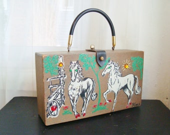 Rare K-wes of Pebble Beach Texas, Handcrafted, Painted Box Bag