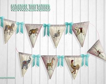 DIY Mini Banner  Bunting victorian Carousel  design instant download