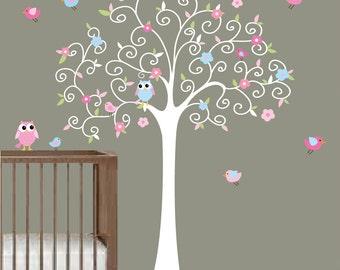 Nursery Tree Decal with Birds Owls-Childrens Vinyl Wall Decals Stickers Art Decor-e105
