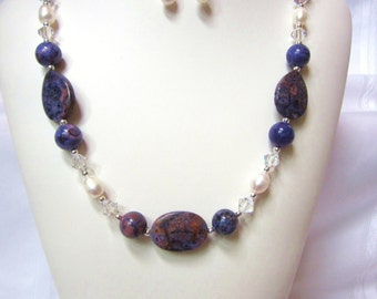 Necklace of Violet Crazy Lace  Agate, White Freshwater Pearls, and Swarovski Crystal Accents, Unique, OOAK, Choker, One of a Kind