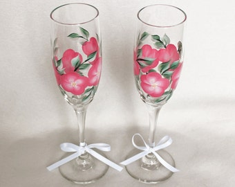 Hand Painted Champagne Glasses, Pink Floral