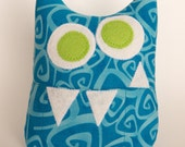 Tooth Fairy Pillow - Personalized Monster - Blue Print with Green Eyes and optional Green initial applique