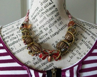 Statement Art Deco Necklace Red Flying bug with a black stone with coordinating beads