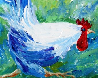 Running Rooster   - Original Acrylic Painting 12x12 inches SALE