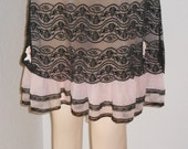 Vintage Pink Chiffon and Black Lace Baby Doll Nightie