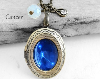 "Get 15% OFF - Handmade Resin ""Cancer"" Constellation Sign Antique Bronze Oval Photo Locket Pendant Necklace - Valentine's Day SALE 2017"