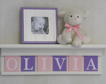 Purple Pink Kids Wall Shelf - Nursery Name Shelves - White or (Off White)  Shelf with Wooden Letter Plaques Light Pink and Lilac