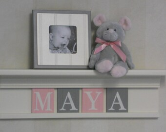 Baby Shower Name Decorations - Baby Girl Nursery Decor Personalized White or (Off White) Shelf with Wooden Letters in Light Pink and Gray