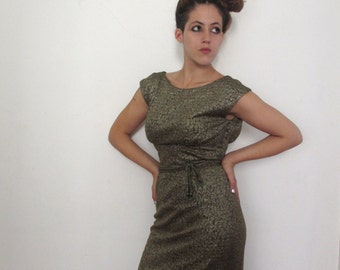 50s Vintage Metallic Wiggle Dress Bronze small/medium