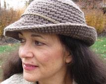CROCHET PATTERN: Winter Fedora, Taupe Fedora, Women's Fedora, Men's Fedora, Crochet Hat Pattern, Warm Brim Hat