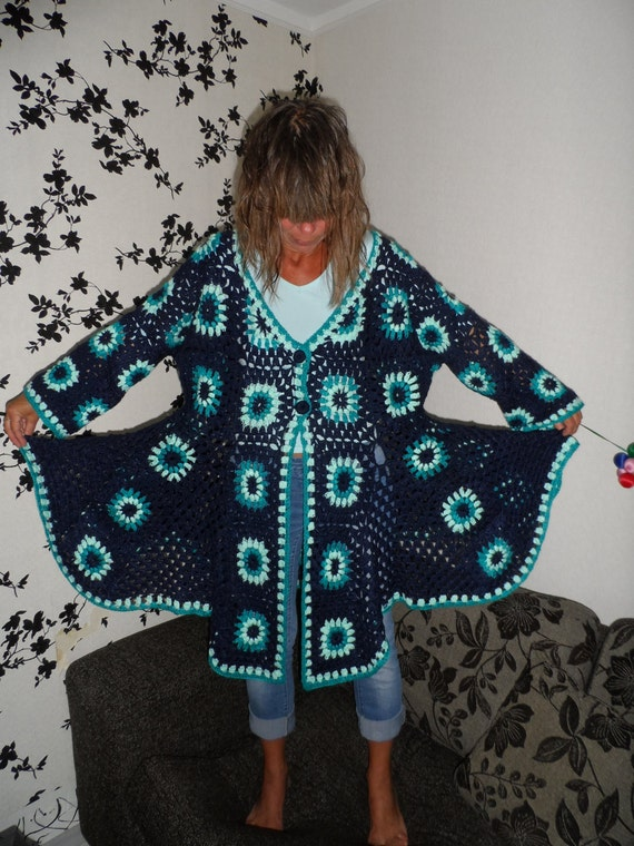 SALE Plus size crocheted  granny square puff stitch flowers teal peppermint blue coat jacket cardigan OOAK