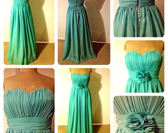 Mint green pastel colour chiffon and satin bridesmaid dress. All sizes and colours available