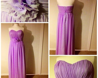 Lilac pastel colour chiffon and satin bridesmaid dress. All sizes and colours available