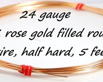 Made in USA 24 gauge 14K rose gold filled round wire, half hard, 5 feet