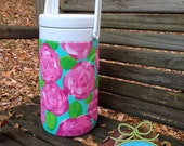 Ready to Ship Lilly Pulitzer Inspired 1/2 Gallon Cooler Hand Painted and Waterproof - Monogram available for no extra charge