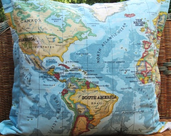 World Map Cushion Cover, Blue World Map Pillow Cover, 24 inch ,Atlas Cushion Cover Whole World Cushion Cover Map Fabric on Front and back