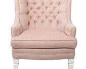 Red Pink Blush Herringbone Linen Tufted Upholstered Arm Chair