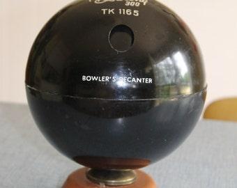 Vintage Black Bowling 300 TK 1165 Bowler's Decanter Made in Hong Kong