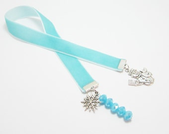 Ice Blue Velvet Ribbon Bookmark Snowman Snowflake Charms Glacial Blue Crystal Rondelles