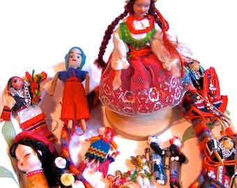 Take 20% Off TWELVE World Minature Fabric Dolls PLUS Worry DOLL Headband
