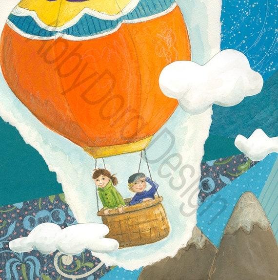 Hot Air Balloon, Boy, Girl, Adventure, Children's Art,  Paper Collage, Watercolor, Teal, Blue, Print