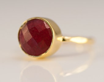 Round Gold Ruby Ring - July Birthstone Ring - Solitaire Ring - Stackable Stone Ring - Stacking Ring - Gold Ring- Round Ring