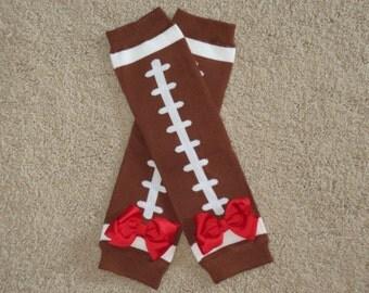 Girls Football Leg Warmers with Ribbon Bows - Baby Toddler Kids Legwarmers Leggings