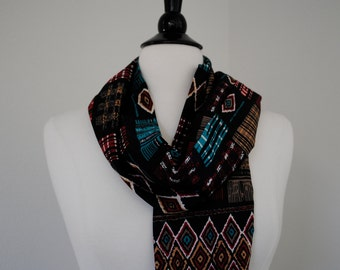 a vintage scarf. multicolored tribal print.