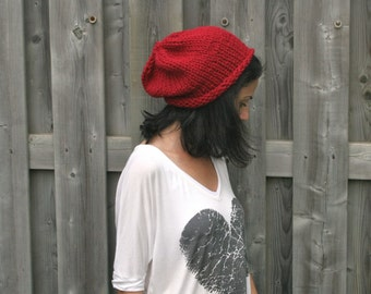 Chunky Knit Slouch Hat in Cranberry Red/The Chelsea with Rolled Brim